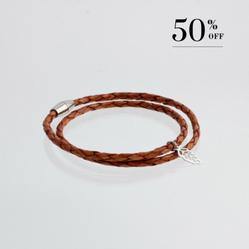 Goat leather with mini leaf bracelet silver