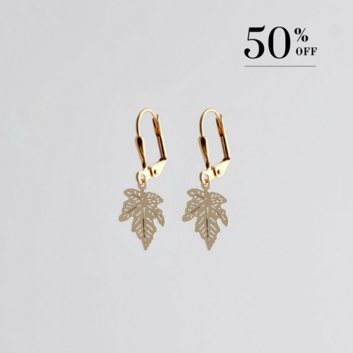 Golden maple leaf earrings