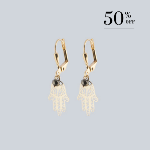 Golden Hand of Fatima with pyrite earrings