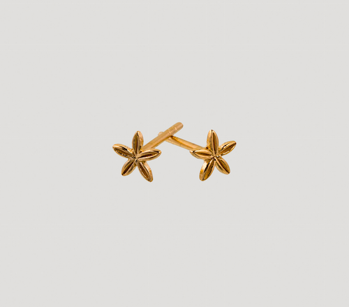 5 petal earrings gold
