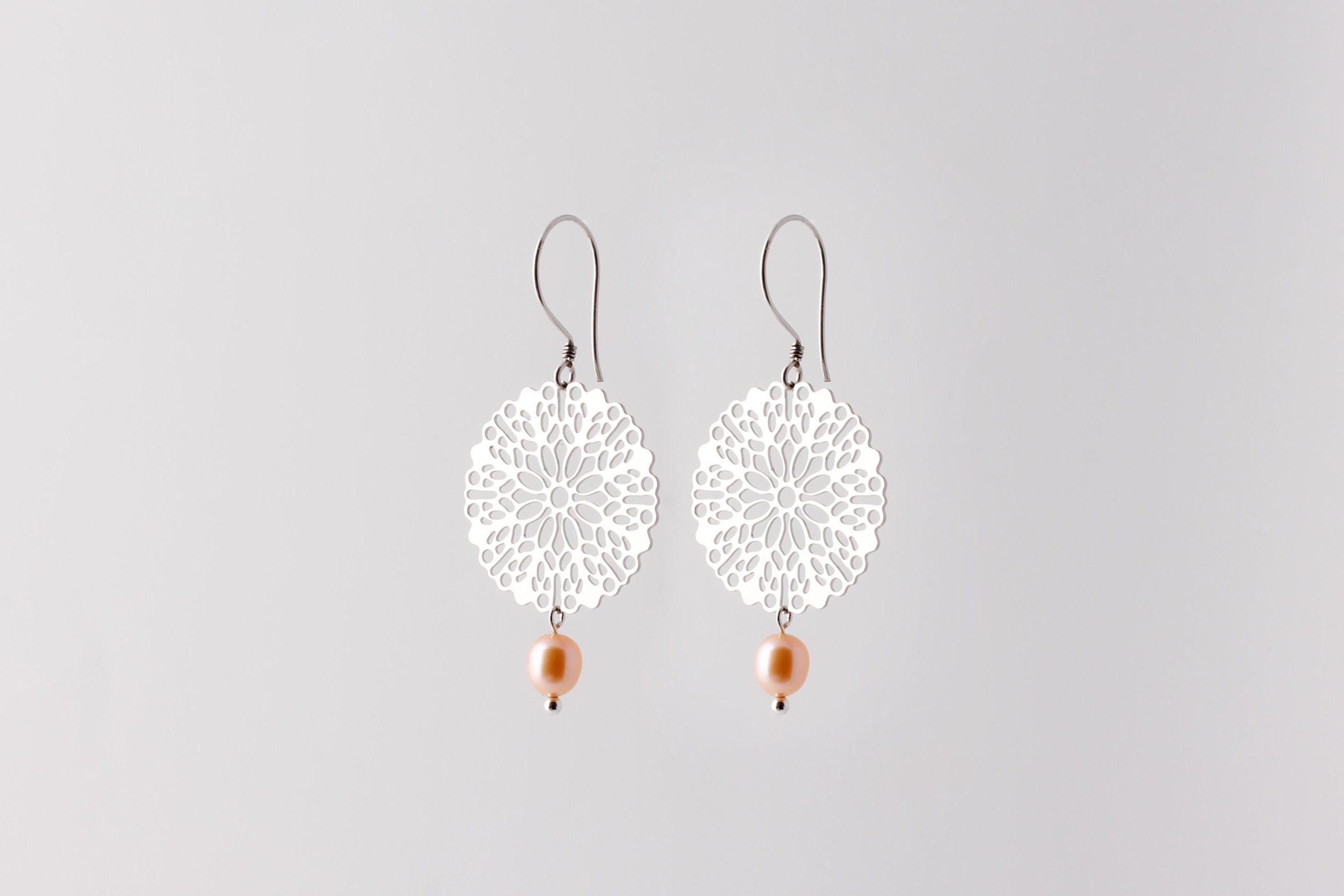 Mandala with drop pearl earrings silver SALE from Julia Otilia