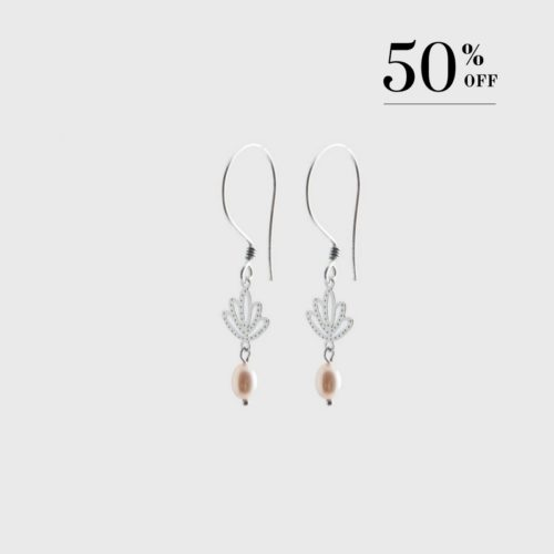 Lotus with drop pearl earrings silver
