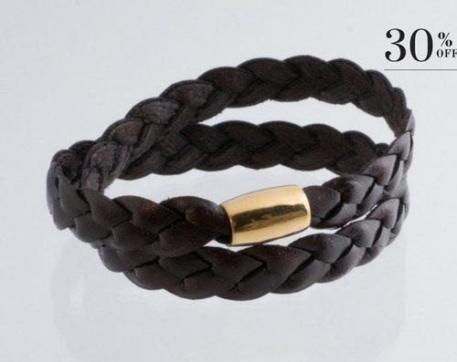 Braided leather bracelet gold