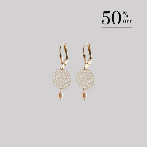 Golden full moon with drop pearl earrings