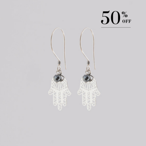 Hand of Fatima with pyrite earrings silver