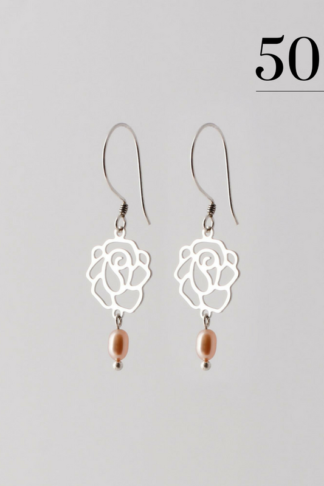 Rose with drop pearl earrings silver