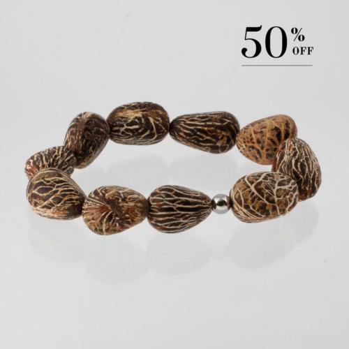 Chonta nut bracelet silver