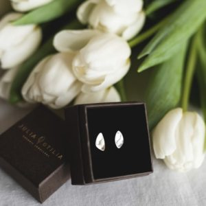 Silver sustainable ethical conscious bridal dainty pebble stud earrings shiny styling image