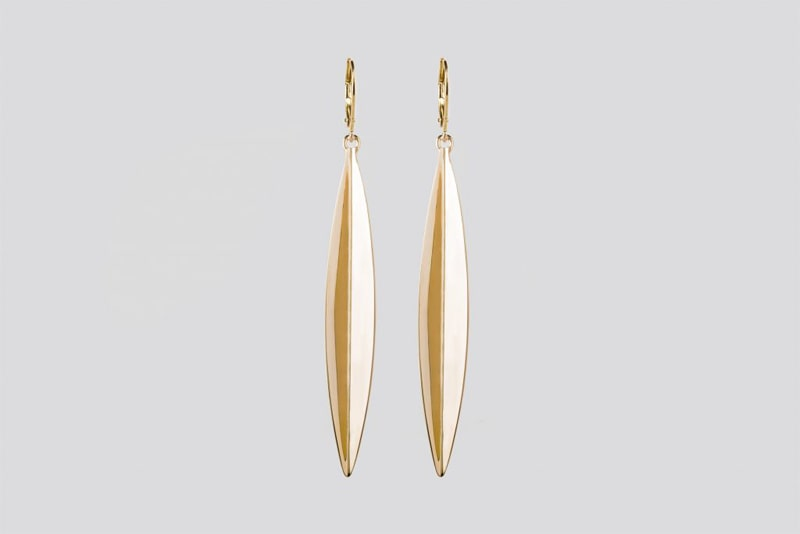 Gold sustainable ethical conscious bridal eucalyptus leaf earrings