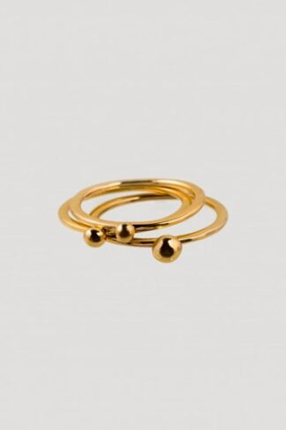Gold sustainable ethical conscious bridal lingonberry trio rings