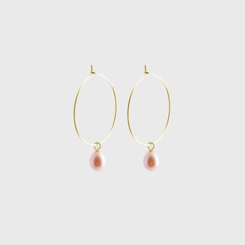 gold sustainable ethical conscious bridal pearl creole earrings