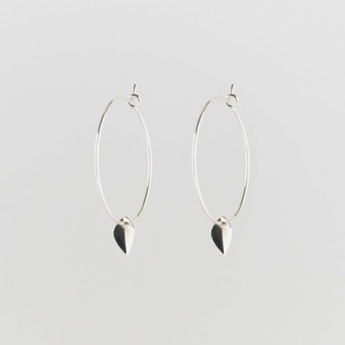 silver sustainable ethical conscious mini leaf creole earrings