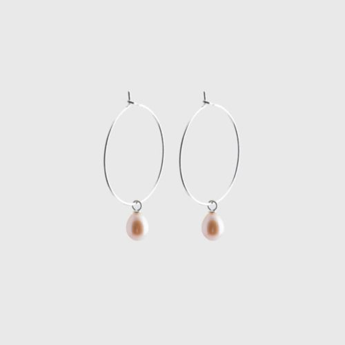 silver sustainable ethical conscious bridal pearl creole earrings