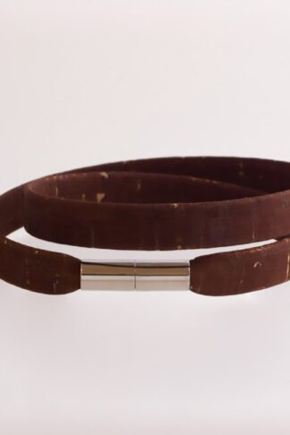 brown sustainable ethical conscious cacao men two lane cork bracelet