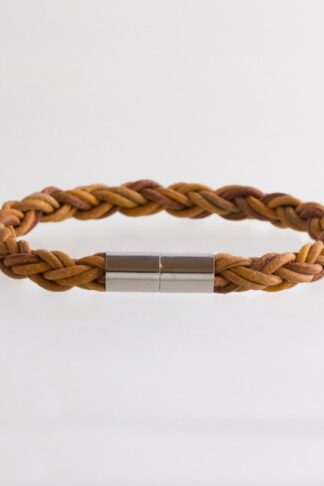 brown sustainable ethical conscious walnut men raw braided leather bracelet