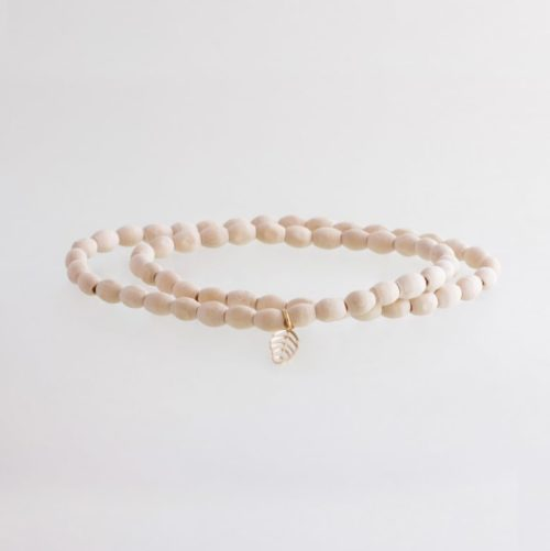 sustainable ethical conscious bridal wooden himalaya bead bracelet with gold mini leaf