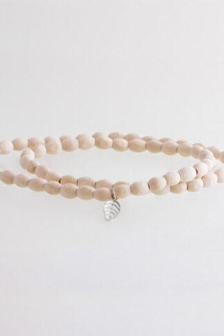 sustainable ethical conscious bridal wooden himalaya bead bracelet with silver mini leaf