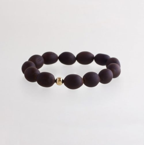 wooden sustainable ethical conscious bridal gold lotus seed bracelet
