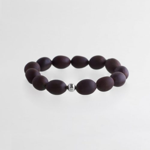 wooden sustainable ethical conscious bridal silver lotus seed bracelet