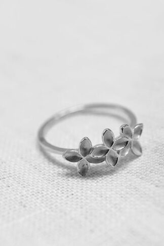 Floral mist ring recycle sterling silver