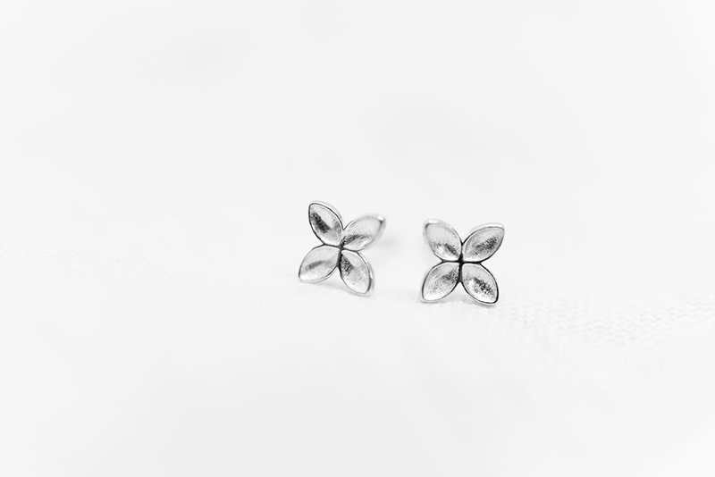 floret stud earrings recycled sterling silver