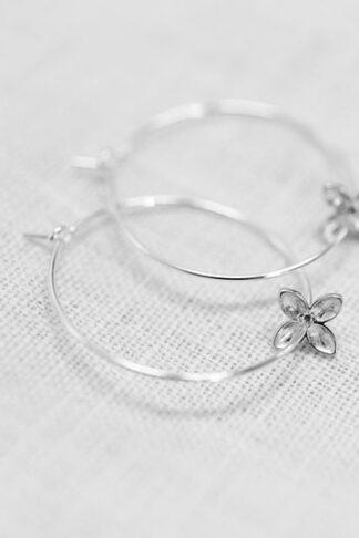 Swinging floret earrings recycled sterling silver