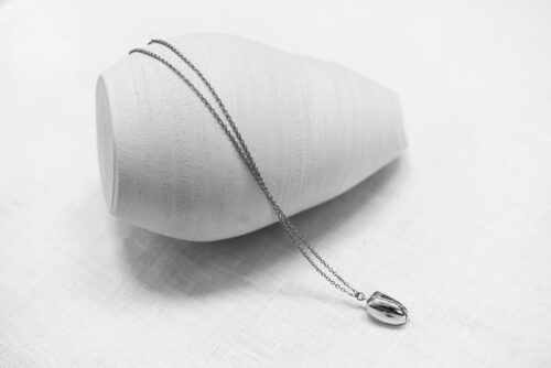 Tulip necklace long recycled sterling silver