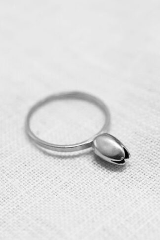 Tulip ring recycled sterling silver